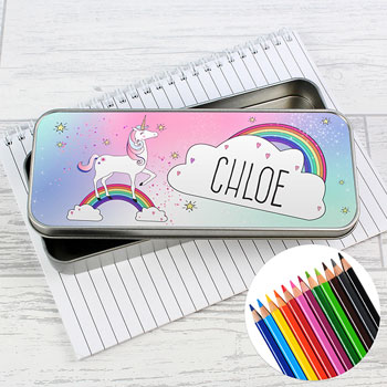 Girl's Personalised Unicorn Pencil Tin with Coloured Pencils