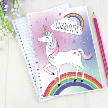 Girl's Personalised Unicorn A5 Pink Notebook
