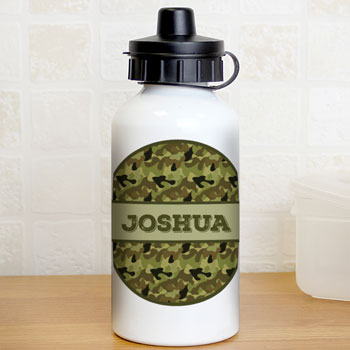 Personalised Khaki Green Boy's Camo Drinks Water Bottle
