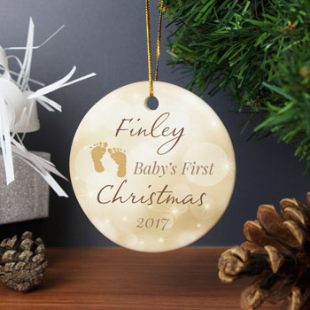 Personalised Neutral My 1st Christmas Round Tree Decoration