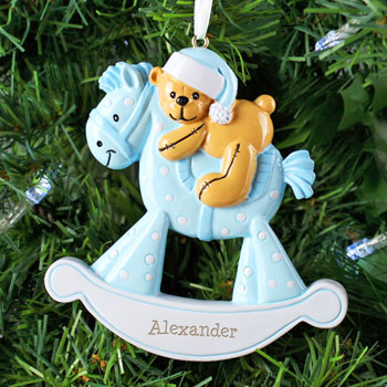 Personalised Blue Rocking Horse Resin Xmas Tree Decoration