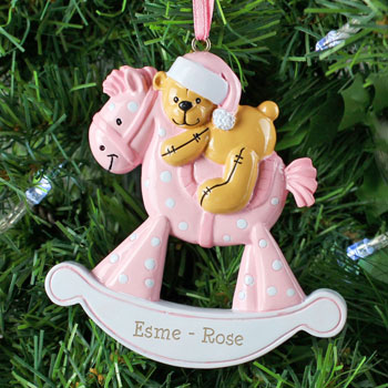Personalised Pink Rocking Horse Resin Xmas Tree Decoration