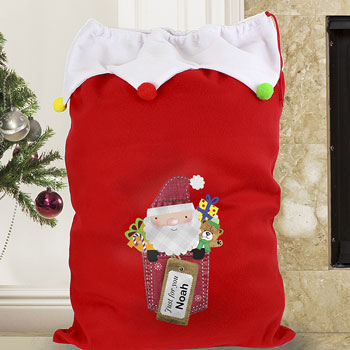Personalised Santa Claus Luxury Pompom Christmas Sack