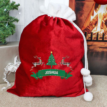 Personalised Nordic Christmas Luxury Pompom Christmas Sack