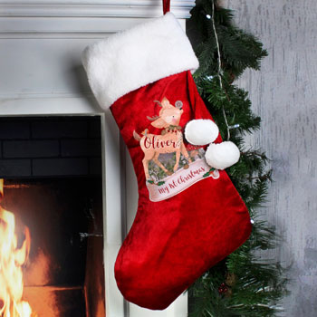 Personalised Festive Fawn Luxury Child's Christmas Stocking