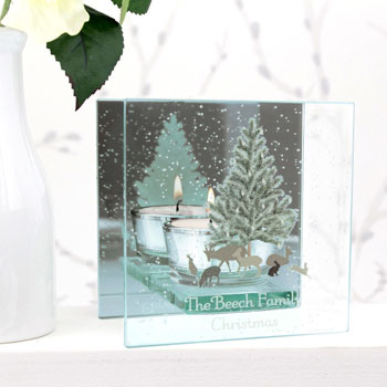Personalised A Winters Night Mirrored Tea Light Holder