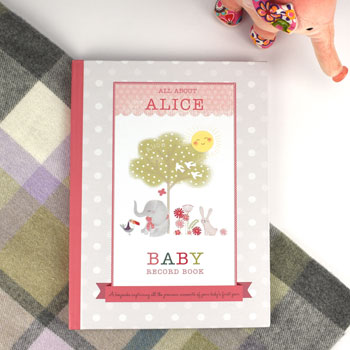 Girls Personalised Baby Record Book Hardback With Gift Box