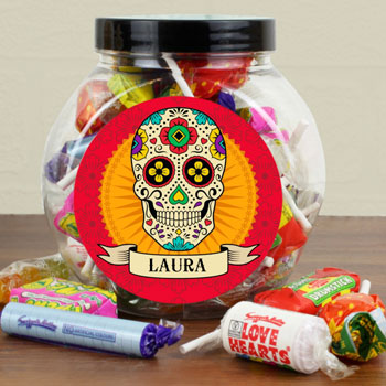 Personalised Sugar Skull Sweet Jar Kid's Hallowen Gift