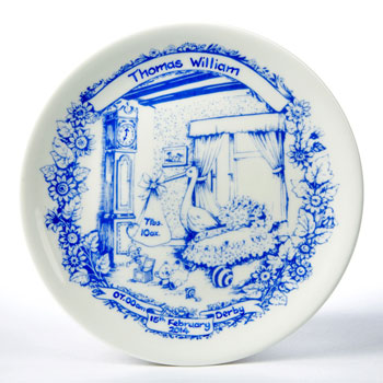 Personalised Staffordshire Blue Traditional Baby Birth Plate