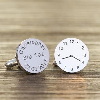 Personalised New Baby Silver Plated Clock Daddy Cufflinks
