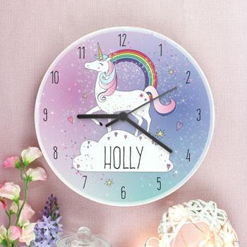 Girl's Personalised Unicorn Wooden Wall Clock Childrens Gift