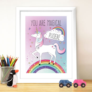 Girl's Personalised Unicorn & Rainbow Poster Framed Print