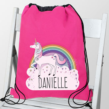 Personalised Girl's Pink Waterproof Unicorn Swim and Kit Bag