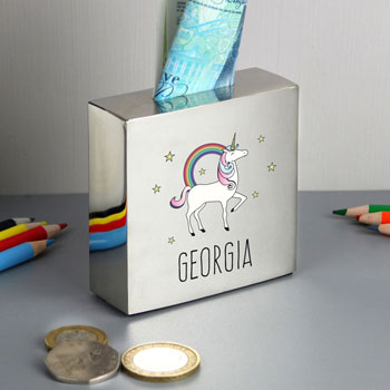 Girl's Personalised Unicorn Square Silver Money Box