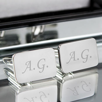 Engraved Silver Plated Cuff Links