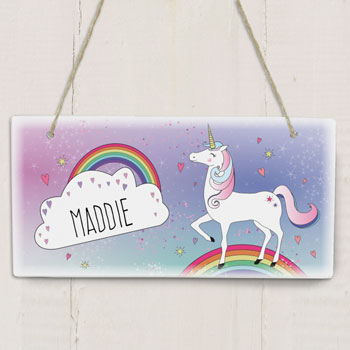 Girl's Personalised Wooden Unicorn Room Name Sign