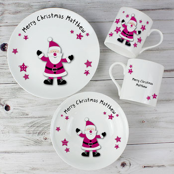 Personalised Starry Santa China Christmas Kids Breakfast Set