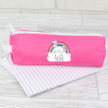 Girl's Personalised Unicorn Pink Pencil Case Back to School