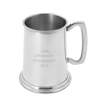 Engraved Pint Pewter Tankard