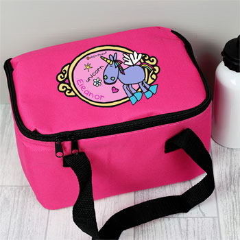 Girl's Pink Personalised Bang on the Door Unicorn Lunch Bag