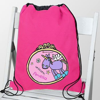 Girl's Personalised Bang on the Door Unicorn Swim & Kit Bag