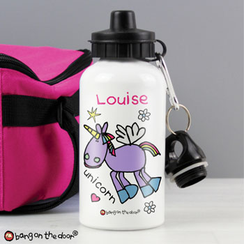 Girl's Personalised Bang on the Door Unicorn Water Bottle