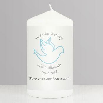 Personalised In Loving Memory Blue Dove Memorial Candle