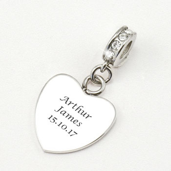 Engraved Stainless Steel Memorial Heart Charm With Crystals