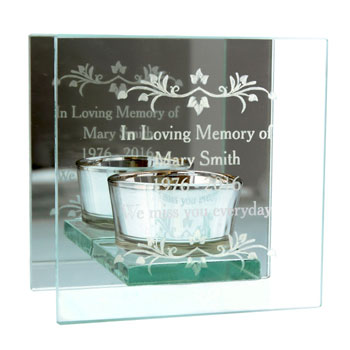 Personalised Glass Memorial Remembrance Tea Light Holder