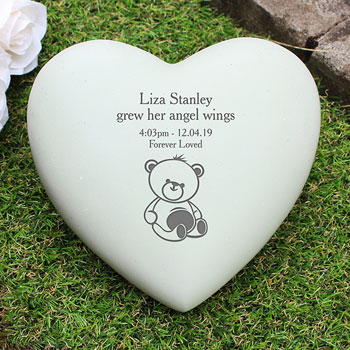 Personalised Teddy Bear Heart Baby Loss Graveside Memorial