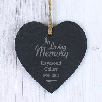Personalised In Loving Memory Slate Memorial Heart