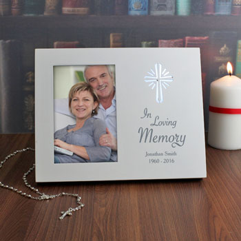 Personalised In Loving Memory 4x6 Light Up Frame With Cross