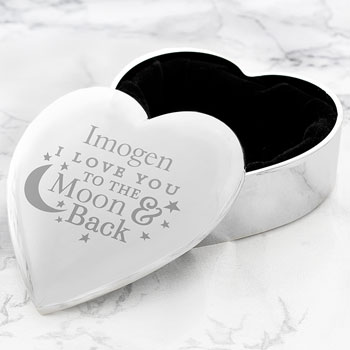 Personalised Engraved To The Moon & Back Heart Trinket Box