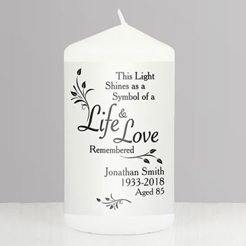 Personalised Life and Love Memorial Keepsake Candle