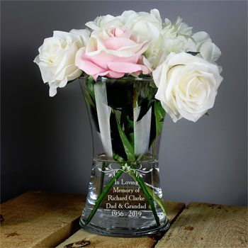 Personalised Sentiments Glass Memorial In Loving Memory Vase