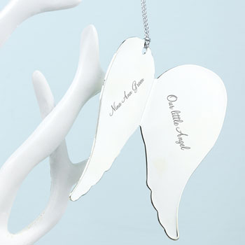 Personalised In Memory Angel Wings Memorial Keepsake