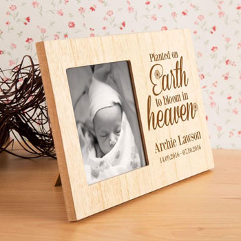 Planted on Earth to Bloom in Heaven Baby Loss Memorial Frame