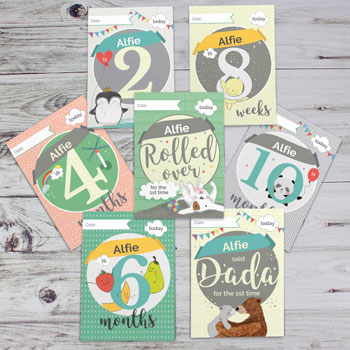 Personalised Baby Milestone Moments Photo Keepsake Cards