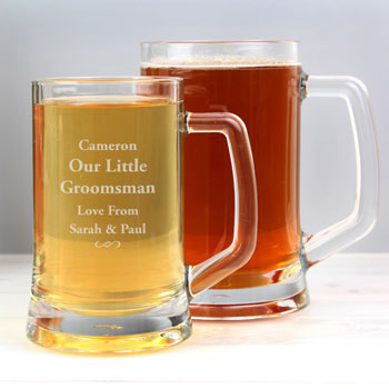 Personalised Half Pint Decorative Swirl Glass Tankard