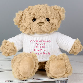 Personalised Flower Girl Teddy Bear Thank You Gift