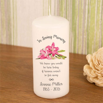 Personalised In Loving Memory Pink Lily Memorial Candle