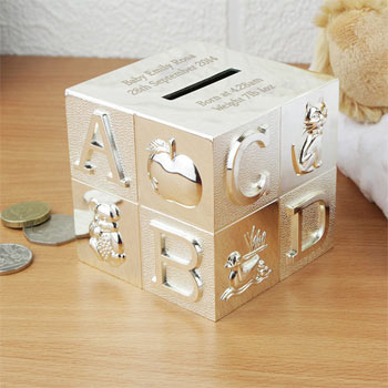 Engraved Silver Plated Personalised ABC Baby Money Box