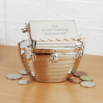 Personalised Silver Plated Noahs Ark Engraved Baby Money Box