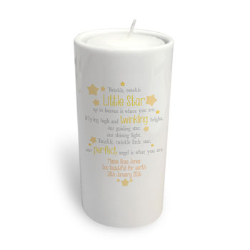 Personalised Twinkle Memorial Round Ceramic Tealight Holder