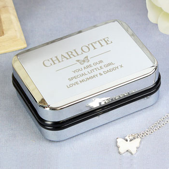 Silver Plated Butterfly Necklace in Personalised Chrome Box