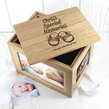 Personalised Baby Shoes Midi Oak Photo Cube Keepsake Box