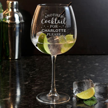 Large Personalised Cocktail Balloon Glass