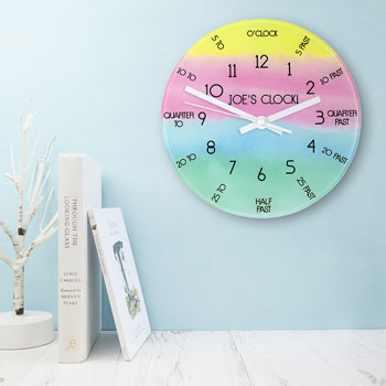 I Can Tell The Time Personalised Glass Wall Clock