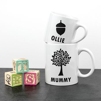 Personalised Mummy & Me Acorn Mugs