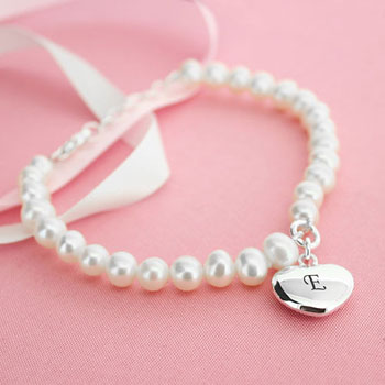 Personalised Pearl Bracelet With Silver Heart Charm
